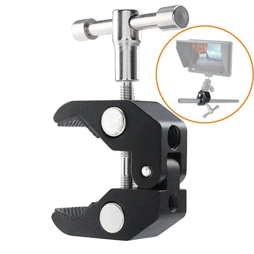 "Super Clamp Magic Arm Camera Clamp Mount Flash Bracket w/ 1/4"" and 3/8"" Pliers Clip for DSLR Rig Cameras, 15mm Rods, Lights, Monitors"
