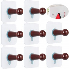 FOTYRIG Adhesive Hooks Hat Hooks Wall Mounted Hat Hanger Rack Organizer for Wall No Drills Wooden Storage Coat Hanging Hook for Baseball Caps, Coat Towel Hat Key Robe On Door Wardrobe Closet-8 Pack