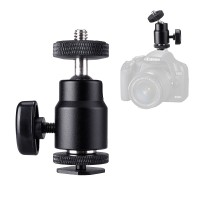 "FOTYRIG Mini Ball Head 1/4"" Hot Shoe Adapter Mount 360 Degree for Cameras, Camcorders, Smartphone, Gopro, LED Video Light, Microphone, Video Monitor and Ring Flash Light, Black"