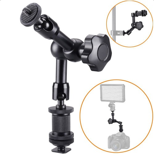 "FOTYRIG 7"" Magic Arm, Friction Arm Articulating Arm with Hot Shoe Mount 1/4"" Tripod Screw for Camera Rig, LCD Monitor, DV Monitor, LED Lights, Flash Lights, Microphones, DJI Osmo,Smart Phone, Gopro"