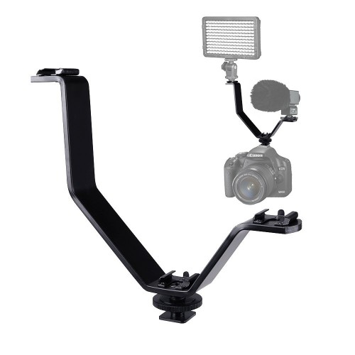 Universal Camea Flash Bracket, Cold Shoe Mount Bracket V-shape Triple 3 Aluminium Alloy for Nikon Canon DSLR Camera or Camcorder LED Video Light,Microphone,Monitor